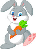 Happy rabbit holding carrot Stock Images