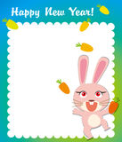 Happy rabbit new year frame Royalty Free Stock Photo