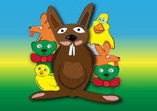 Happy bunny with friends. Happy rabbit with yellow chickens, lambs and green rabbits Royalty Free Illustration