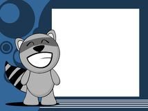 Happy raccoon emotion frame background Stock Photography