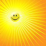 Happy Radiant Smiley Face. A shiny yellow smiley happy face as a radiant yellow sun in an abstract sky. Have a nice day stock illustration