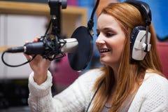 Happy radio host speaking Royalty Free Stock Photography