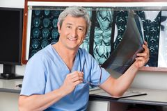Happy Radiologist Holding X-ray Stock Photos