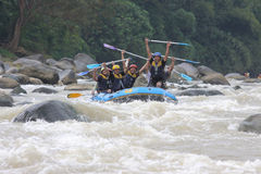 Happy rafting at progo river indonesia Royalty Free Stock Photography
