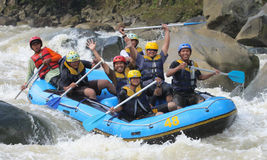 Happy rafting at progo river indonesia Stock Image