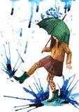 Happy rain. Happy girl with umbrella in the rain Royalty Free Stock Photo
