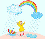 Happy in rain Royalty Free Stock Photography