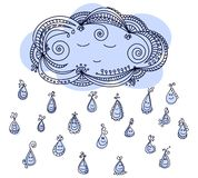 Happy raindrops with sleepy cloud. Vector cartoon illustration royalty free illustration