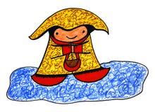 Happy Rainy Day. Illustration clip art of a happy rainy day child Royalty Free Stock Image