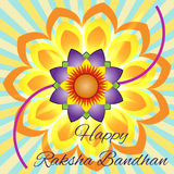 Happy Raksha Bandhan. Elegant greeting card with beautiful rakhi for Indian festival of brother and sister love, celebration Royalty Free Stock Photography