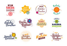 Happy Raksha Bandhan emblems set. Stock Images