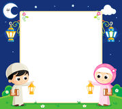 Happy Ramadan. Boy and girl are Celebrating Ramadan and carrying Lanterns and between them an empty white board