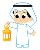Happy Ramadan. Child celebrating Ramadan and carrying Ramadan Lantern, Ramadan is the ninth month of the Muslim calendar , Arab Child wearing the most common vector illustration