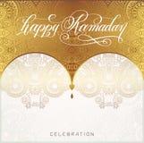 Happy Ramadan golden greeting card Royalty Free Stock Images