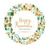Happy Ramadan icons set Stock Photography
