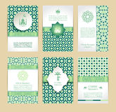 Happy Ramadan icons set of Arabian. Muslim abstract greeting banners. Islamic vector illustration