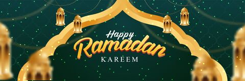 Free Happy Ramadan Kareem Banner. With Realistic Islamic Ornament. Web Banner Design. Vector Illustration Stock Photo - 214170970