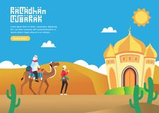 Happy ramadan mubarak greeting cart concept with people and his friends character going to mosque for web landing page template, royalty free illustration