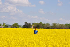 Happy rape field Stock Image