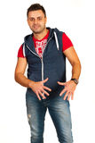 Happy rapper gesticulate. Happy rapper man in jeans gesticulate isolated on white background royalty free stock image