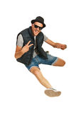 Happy rapper man gesticulate. Isolated on white background stock photography