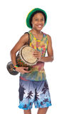 Happy rasta boy with hand made drum Royalty Free Stock Images