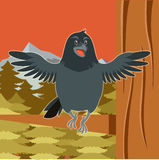 Happy Raven on the Tree winter flat background. Vector image of the Happy Raven on the Tree winter flat background Stock Image