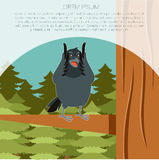 Happy Raven on the Tree winter flat background. Vector image of the Happy Raven on the Tree winter flat background Royalty Free Stock Photos