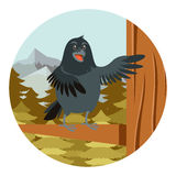 Happy Raven on the Tree winter flat background. Vector image of the Happy Raven on the Tree winter flat background Royalty Free Stock Photo