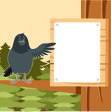 Happy Raven on the Tree winter flat background. Vector image of the Happy Raven on the Tree winter flat background Royalty Free Stock Photography