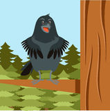 Happy Raven on the Tree winter flat background. Vector image of the Happy Raven on the Tree winter flat background Royalty Free Stock Image