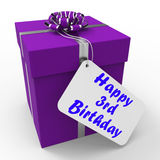 Happy 3rd Birthday Gift Means Congratulations On Royalty Free Stock Images