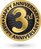 Happy 3rd years anniversary gold label, vector. Illustration royalty free illustration