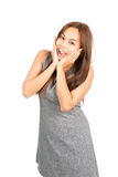 Happy Reaction Asian Woman Surprise News Half Royalty Free Stock Photography