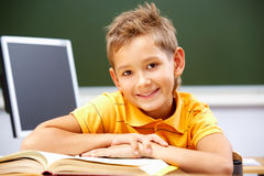 Happy reader. Portrait of smart lad at his place looking at camera during reading lesson Stock Image