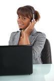 Happy receptionist stock photo