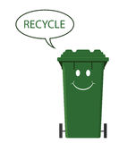 Happy recycling bin Royalty Free Stock Photo