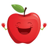Happy Red Apple Vector Illustration Royalty Free Stock Photo