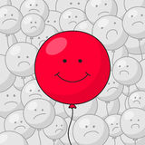 Happy red balloon and disgruntled gray balloons Stock Photos