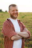 Happy red-bearded man in a shirt Royalty Free Stock Images