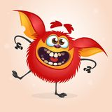 Happy red cartoon monster dancing. Halloween vector illustration ofrad furry monster character. Happy red cartoon monster dancing. Halloween vector illustration Stock Photo