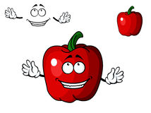 Happy red cartoon sweet bell pepper vegetable Stock Photo