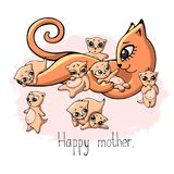 A happy red cat mom lies with five playing babies-kittens with an inscription. Royalty Free Stock Image