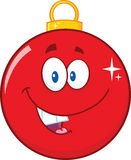 Happy Red Christmas Ball Cartoon Mascot Character Stock Photo