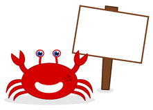 Happy red crab with panel Stock Images
