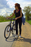Happy healthy lifestyle woman bike Stock Photography