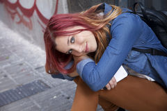 Happy red hair young woman smiling Royalty Free Stock Photos