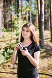 Happy Red-haired Caucasian Girl Young Woman Photographer Taking Royalty Free Stock Photos