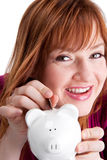 Happy red-headed saver Stock Image