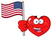 Happy Red Heart Cartoon Emoji Face Character Holding An American Flag Royalty Free Stock Images
